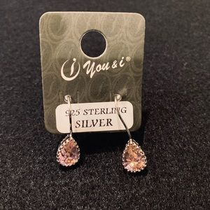 Pink Stone Sterling Silver Drop Earrings